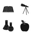 an open book with a bookmark a telescope flasks vector image