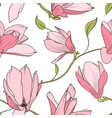magnolia sakura pink flowers seamless pattern vector image