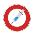 sticker circular border with needle syringe with vector image