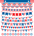 USA celebration buntings garlands flags flat vector image
