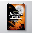 Halloween Party Flyer Design with bats and moon vector image