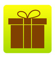 gift box sign brown icon at green-yellow vector image