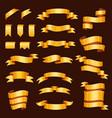 golden ribbon tape banner flag bow vector image