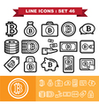 Bitcoin Line icons set 46 vector image vector image