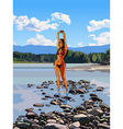 slim girl in a bathing suit standing vector image