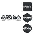 Casino icon set monochrome vector image