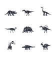 Dinosaurs silhouettes icons vector image vector image