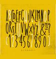alphabet straight lines font yellow vector image