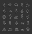 desserts thin line icons vector image