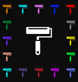 Paint roller icon sign Lots of colorful symbols vector image