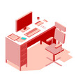 pink-colored office workplace isometric flat vector image