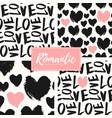 romantic seamless patterns set vector image