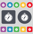 compass icon sign A set of 12 colored buttons Flat vector image