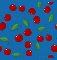 seamless pattern cherry on blue background vector image