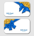 Gift Cards with Blue Bow Ribbon and Golden vector image