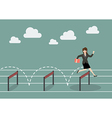 Business woman jumping over hurdle vector image