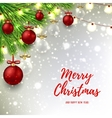 Christmas background with red and glass balls vector image
