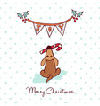 christmas cute puppy dog cartoon greeting card vector image