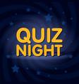 quiz night neon light sign in retro twist vector image