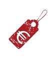 Red grunge euro tag logo vector image