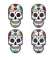 set of sugar skulls vector image