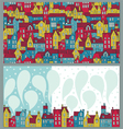 Two backgrounds with colorful houses vector image