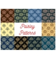 Paisley floral seamless patterns set vector image vector image