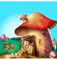 A boy at his mushroom house vector image vector image
