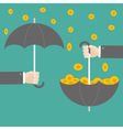 Businessman hand holding umbrella with success vector image vector image
