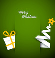 Simple green christmas card vector image
