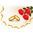 Wedding rings and roses bouquet vector image