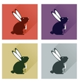Set of flat icons with long shadow rabbit carrot vector image