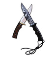 two knives crossed vector image