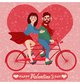 Valentines Day Card - Happy Couple with Bicycle vector image