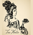 vintage lady for cafe or restaraunt vector image