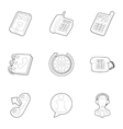 Support icons set outline style vector image