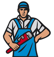 Plumber holding a wrench vector image