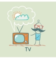 man watches TV vector image vector image
