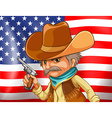 US flag and cowboy vector image