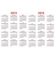 2015 and 2016 years calendar vector