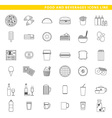 food and beverages icons line vector image