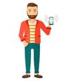 Man holding ringing telephone vector image