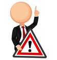 Businessman holding a red traffic triangle warning vector image