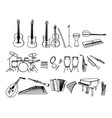 black and white hand drawn musical instruments vector image