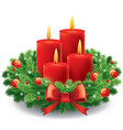 christmas advent wreath with burning candles vector image