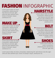 girl in black dress fashion infographic vector image