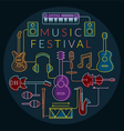Music Instruments Objects Label Line Design vector image