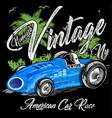 vintage racing car print design vector image