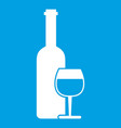 wine bottle and glass icon white vector image