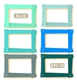 Wooden picture frames blue set vector image vector image